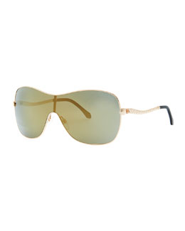 Roberto Cavalli Agena One-Piece Lens Square Sunglasses, Rose Gold