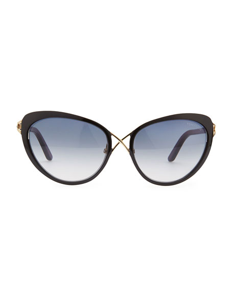 Daria Metal Cross-Front Cat-Eye Sunglasses, Black