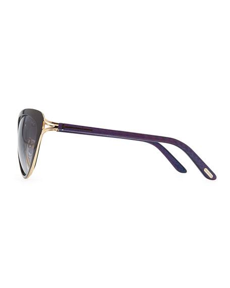 Daria Metal Cross-Front Cat-Eye Sunglasses, Black