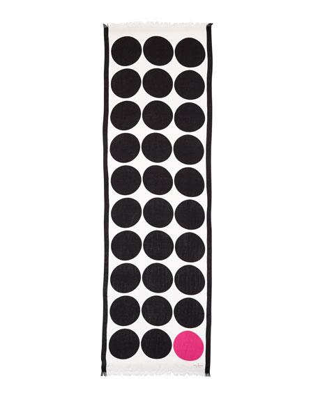 six month dot-print scarf, black/pink