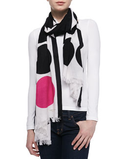 kate spade new york six month dot-print scarf, black/pink