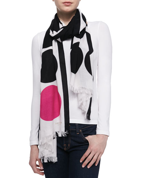 six month dot-print scarf, black/pink