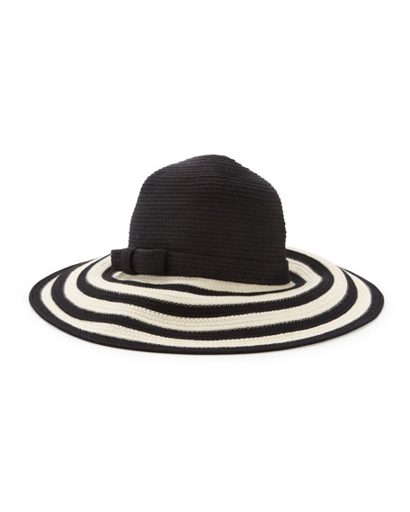 striped wide-brim sun hat, black/cream
