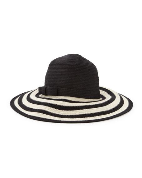 striped wide-brim sun hat, black/cream