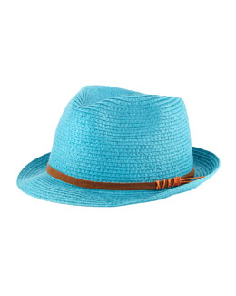 Michael Stars Faux-Suede-Band Fedora, Turquoise