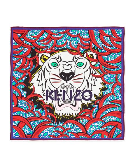New Tiger-Head Silk Scarf, Red