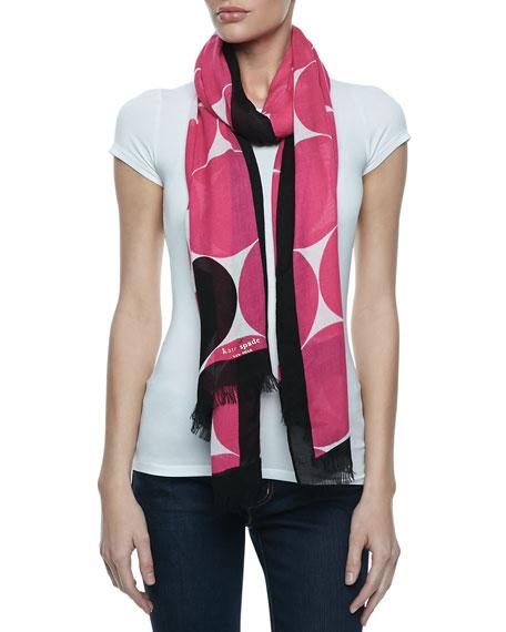 deborah dot-print scarf, pink/black