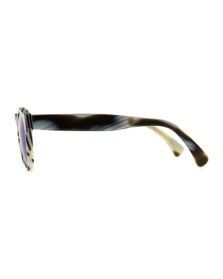 Leonard Round Horn-Pattern Sunglasses with Mirror Lens