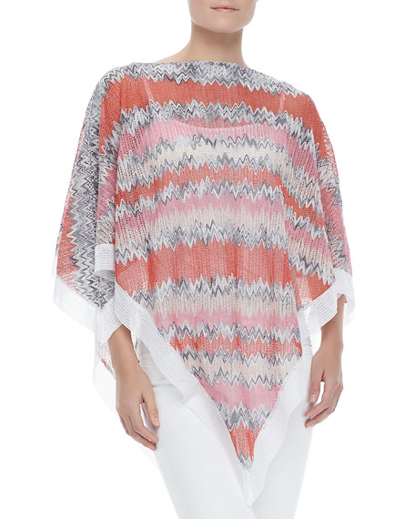 Zigzag-Knit Poncho with White Trim