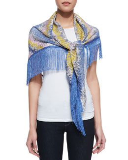 Missoni Long Knit Fringe Stole, Blue
