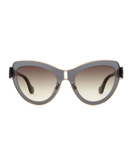 Transparent Framed Cat-Eye Sunglasses, Smoke