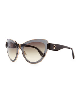 Balenciaga Transparent Framed Cat-Eye Sunglasses, Smoke