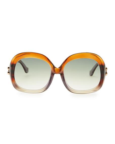 Oversized Square Sunglasses, Transparent Brown/Gray Gradient