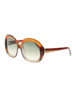 Balenciaga Oversized Square Sunglasses, Transparent Brown/Gray Gradient