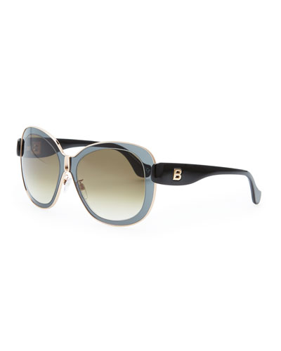 Balenciaga Transparent Framed Sunglasses, Smoke
