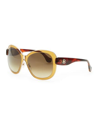 Balenciaga Transparent Framed Sunglasses, Amber Brown