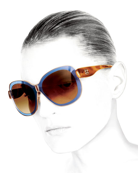 Transparent Framed Sunglasses, Blue/Brown