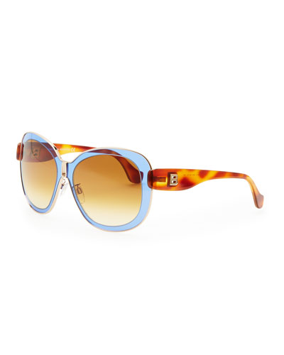 Balenciaga Transparent Framed Sunglasses, Blue/Brown