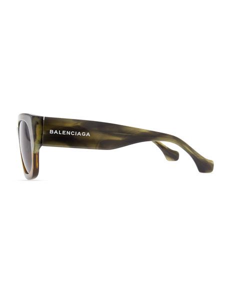 Thick Square Acetate Sunglasses, Striped Gray/Green