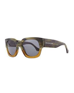 Balenciaga Thick Square Acetate Sunglasses, Striped Gray/Green