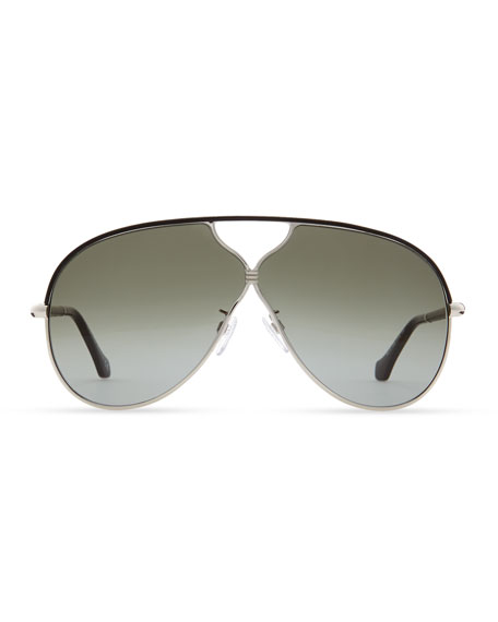 Aviator Sunglasses, Palladium/Black Leather