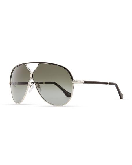 Aviator Sunglasses, Palladium/Black Leather