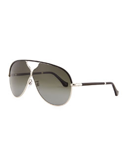 Balenciaga Aviator Sunglasses, Rose Gold/Black Leather