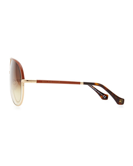 Leather Aviator Sunglasses, Rose Golden/Brown