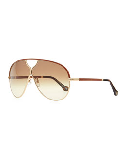 Balenciaga Leather Aviator Sunglasses, Rose Golden/Brown