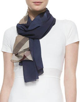Burberry Ombre Check Silk Scarf, Navy/Camel