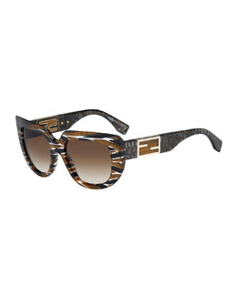 Fendi Striped Square & Variegated Sunglasses, Tobacco Brown
