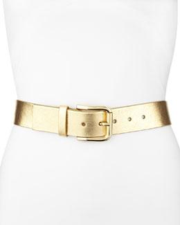 Metallic Leather Belt, Gold