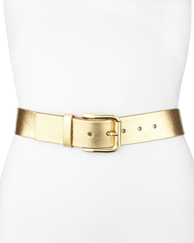 Neiman Marcus Metallic Leather Belt, Gold