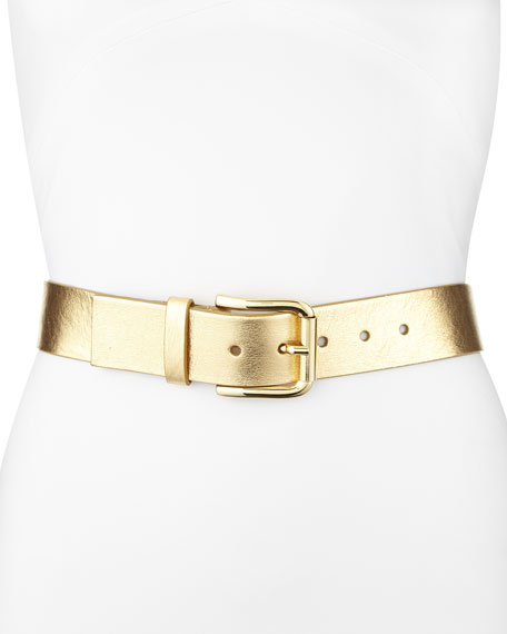 Metallic Leather Belt, Gold