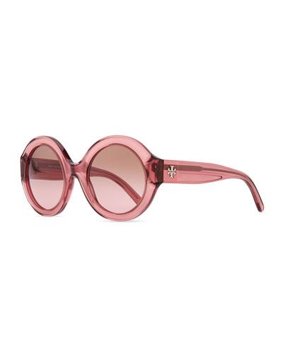Tory Burch Round Plastic Sunglasses, Rose