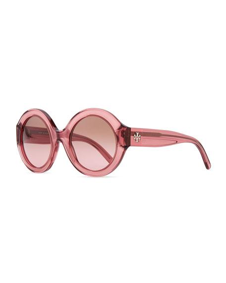 Round Plastic Sunglasses, Rose