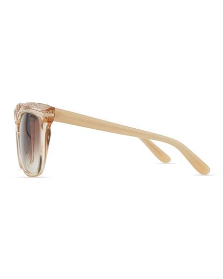 Sophia Embellished Sunglasses, Nude