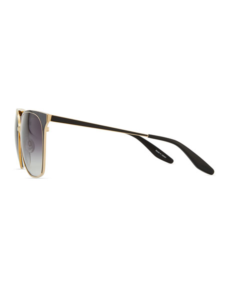 Universal Fit Edie Metal/Enamel Sunglasses, Gold/Black