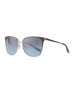 Barton Perreira Edie Metal/Enamel Sunglasses, Silver/Blue