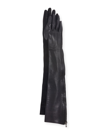 Long Leather & Suede Gloves