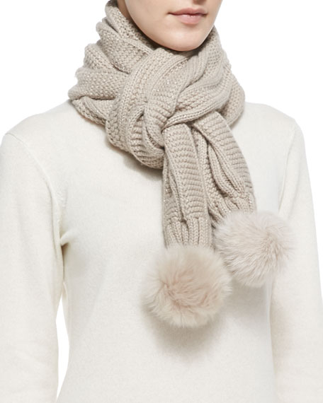 Nyla Cable Knit Scarf with Shearling Fur Pompom, Moonlight/Multi