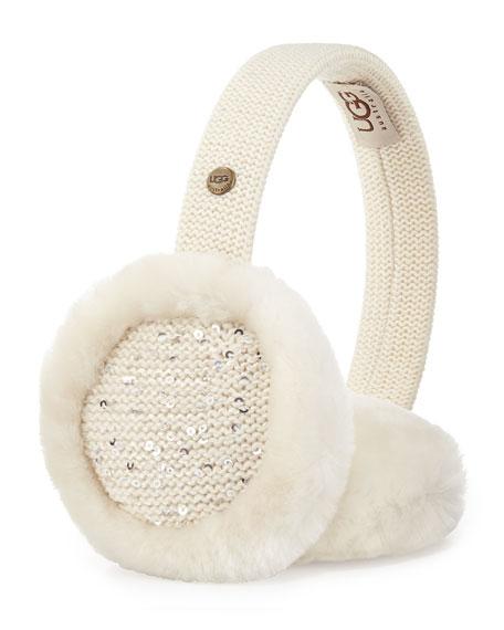 Lyra Sequined Earmuffs, Cream