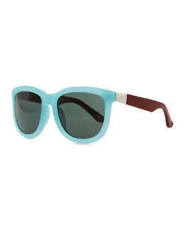 THE ROW Row 7 Leather-Arm Plastic Sunglasses, Teal