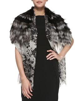 Roberto Cavalli Floral Cashmere & Fox Fur Stole