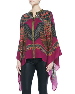Etro Paisley Chiffon Poncho with Button Front