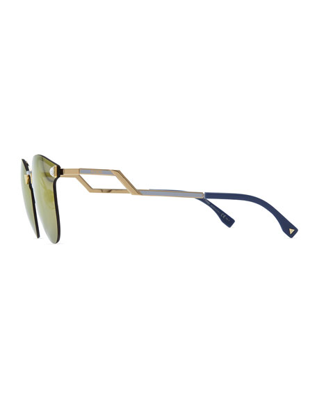 Rimless Glasses With Changeable Arms : Fendi Rimless Sunglasses with Stepped Arms
