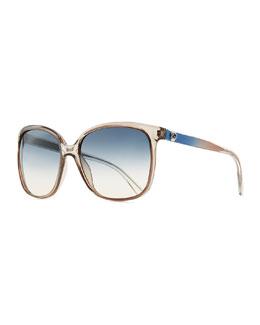 Plastic Rectangle Sunglasses, Brown