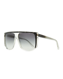 Gucci Studded Plastic Shield Sunglasses, Clear/Gray