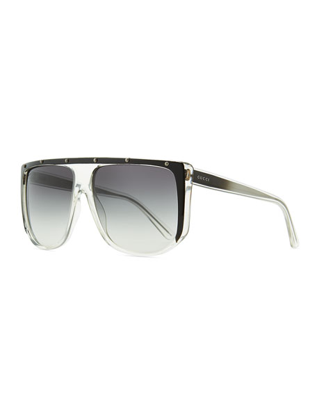 Gucci Shield Sunglasses  gucci studded plastic shield sunglasses clear gray