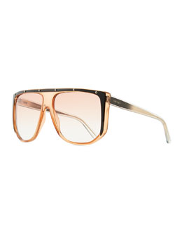 Gucci Studded Plastic Shield Sunglasses, Orange
